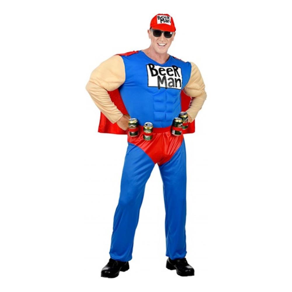 Super Beer Man Maskeraddräkt - Small
