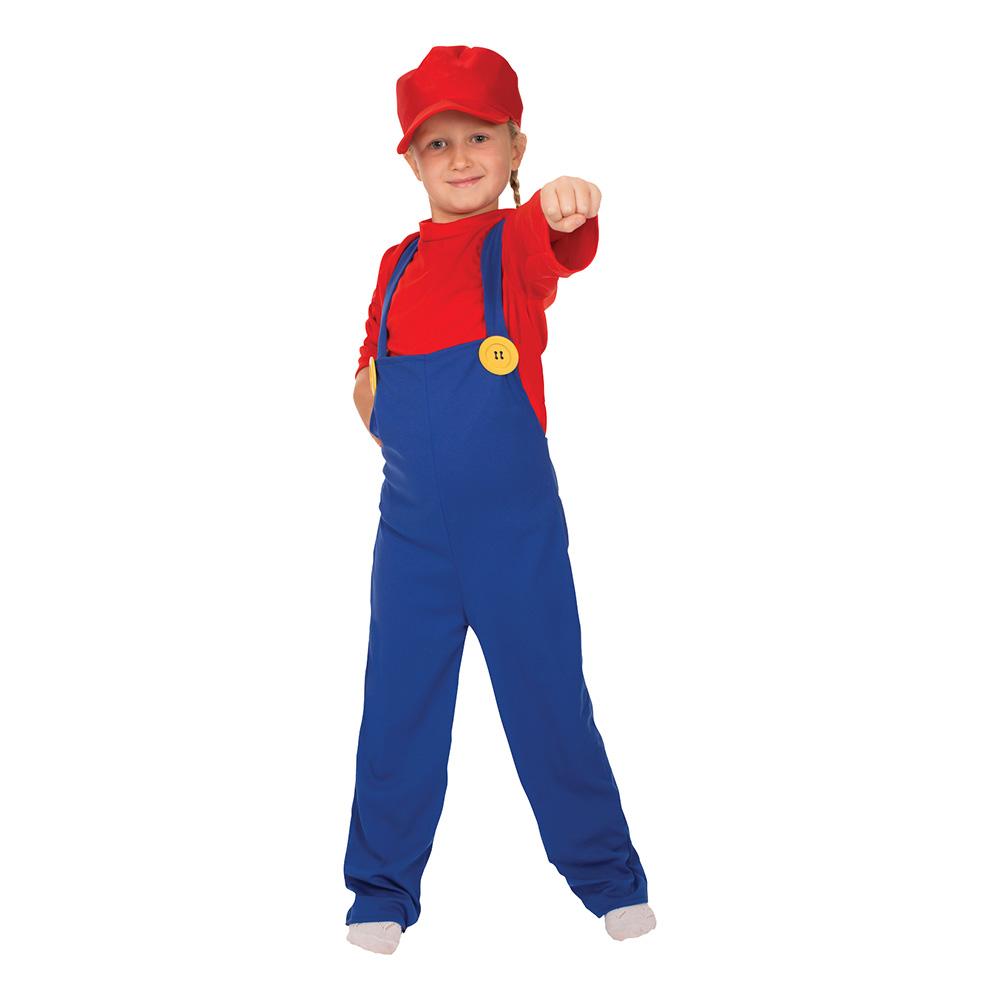 Super Rörmokare Barn Maskeraddräkt - Large