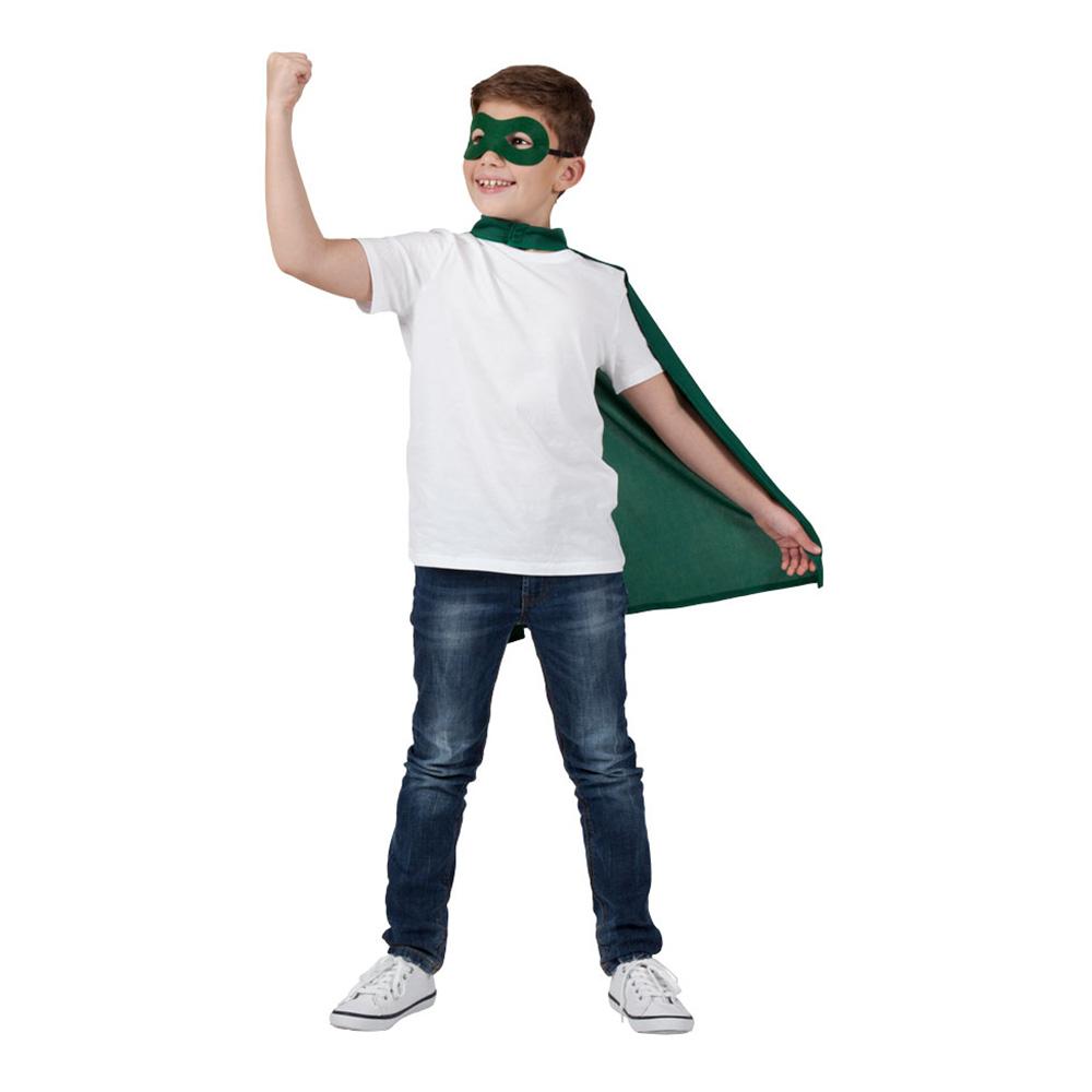 Superhjälte Cape med Mask Grön Barn - One size