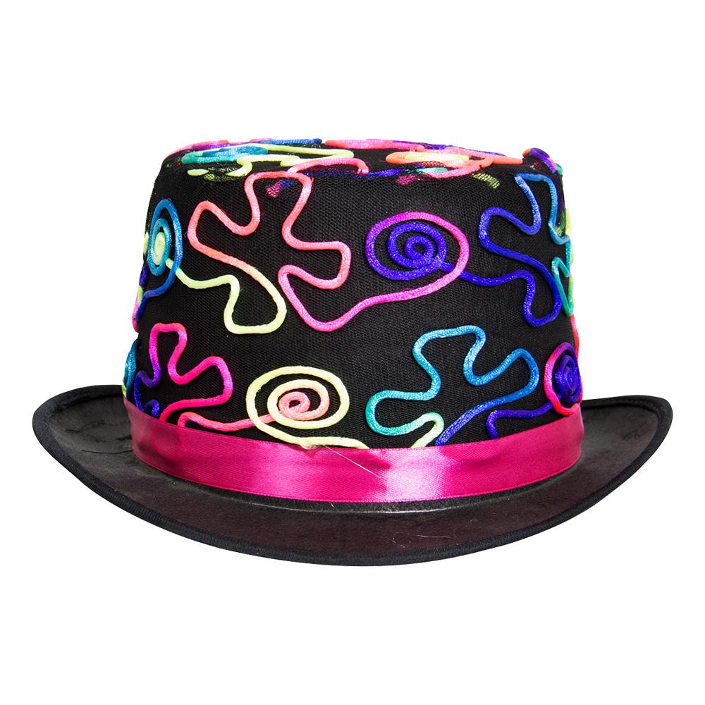 Svart Hatt med Neonfärger - One size