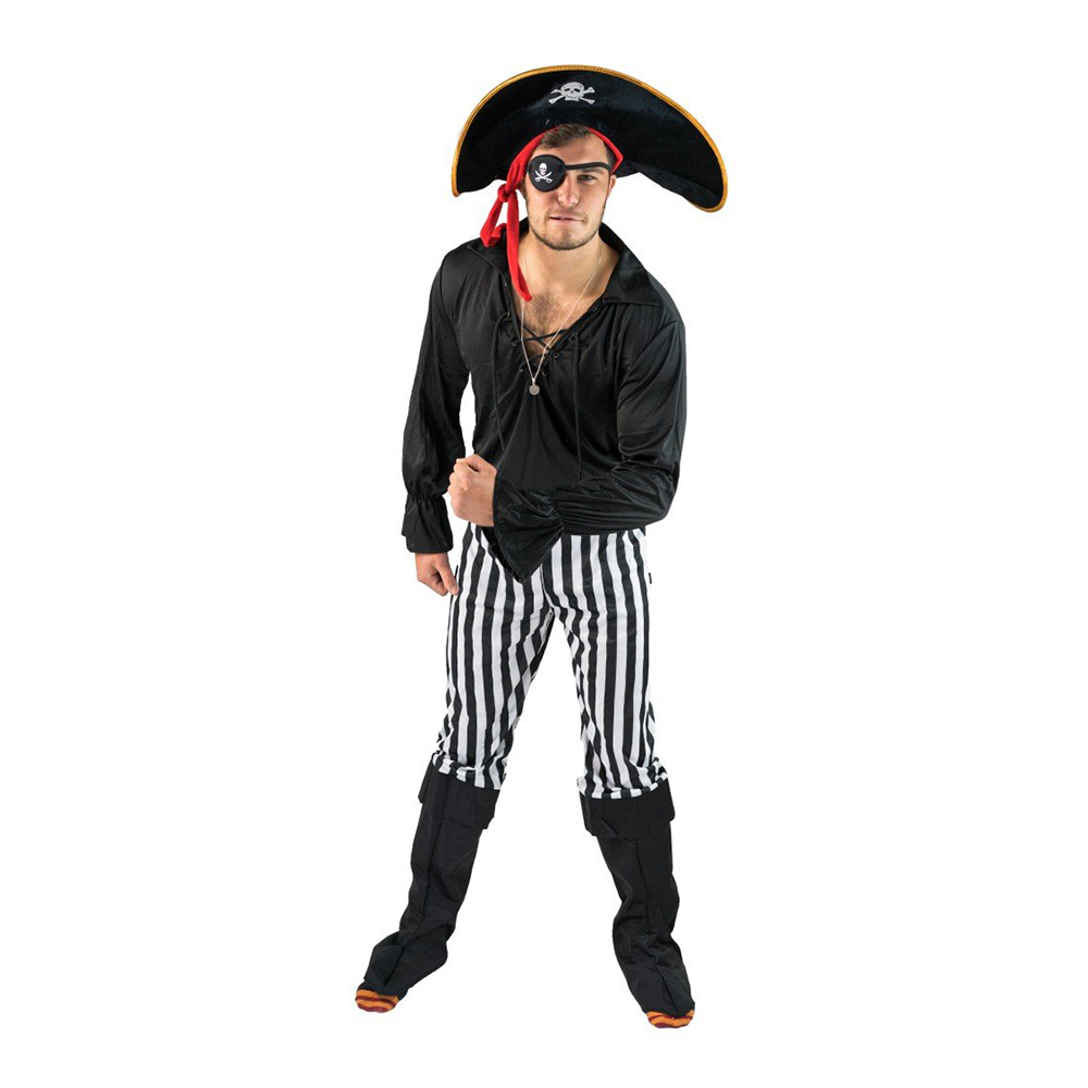 Svart Pirat Budget Maskeraddräkt - One size