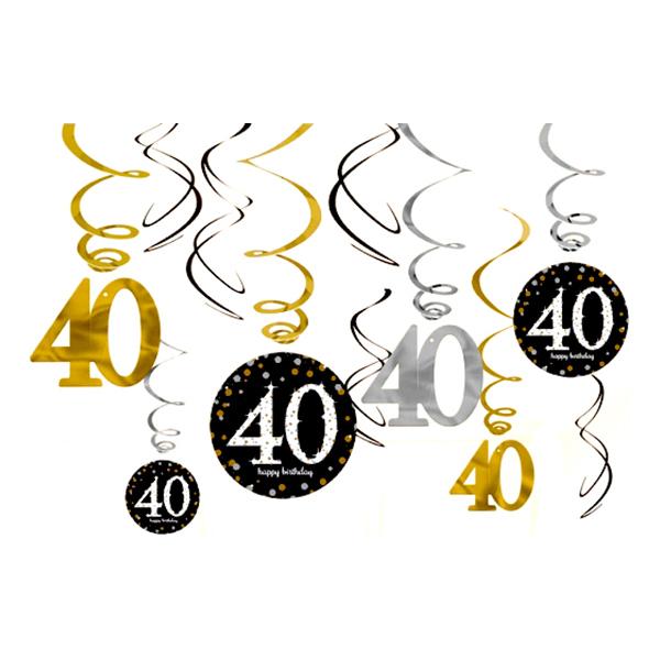 Swirls 40 Guld/Silver Hängande Dekoration - 12-pack