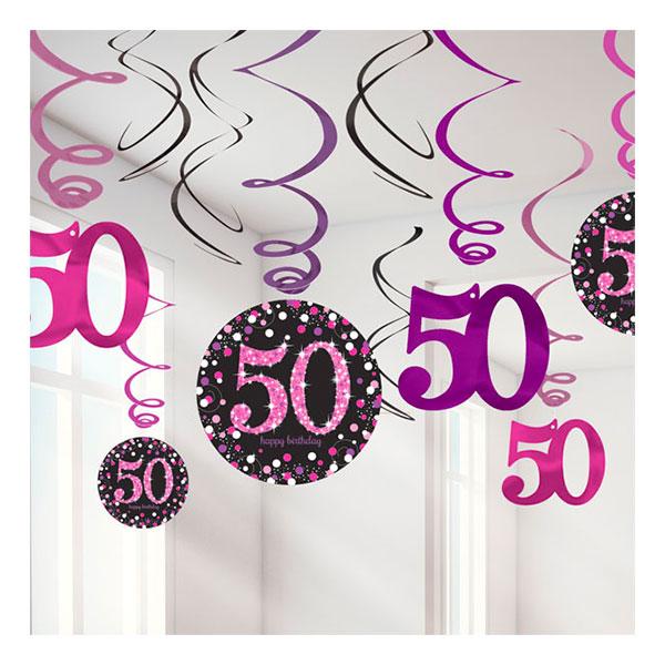 Swirls 50 Rosa Hängande Dekoration - 12-pack