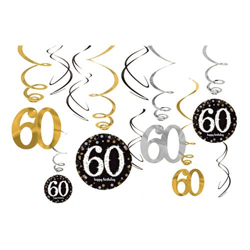 Swirls 60 Guld/Silver Hängande Dekoration - 12-pack