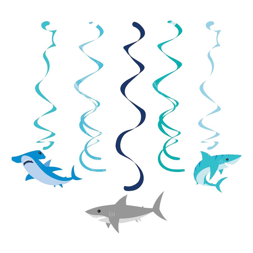 Swirls Hängande Dekoration Shark Party - 5-pack