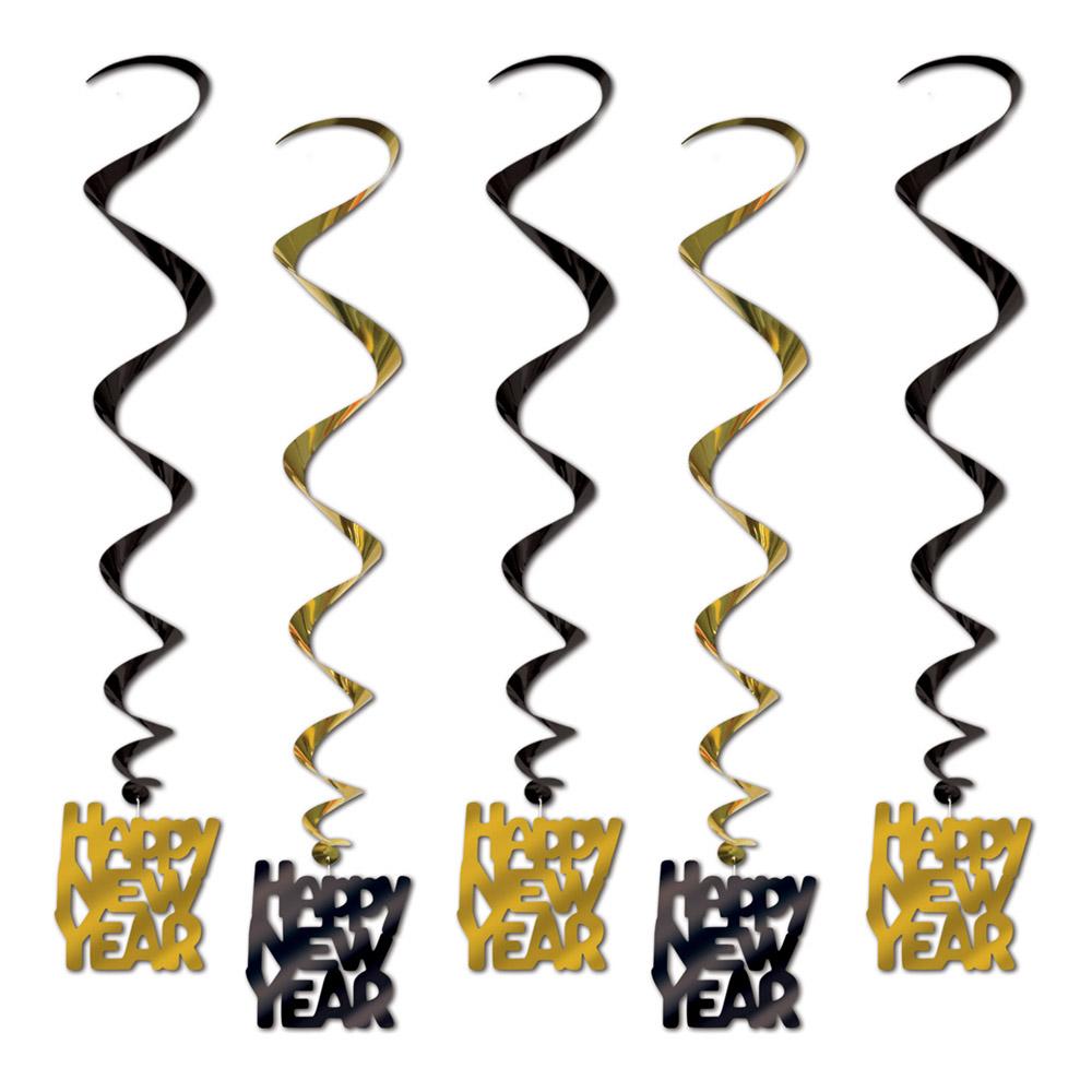 Swirls Happy New Year Svart/Guld Hängande Dekoration