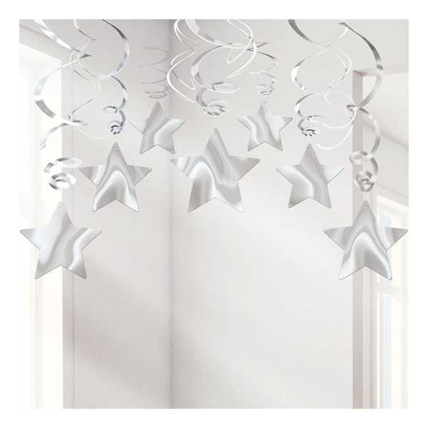 Swirls Silver Stjärnor Hängande Dekoration