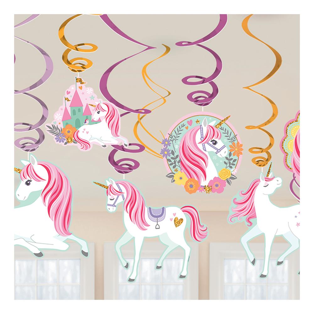 Enhörningsprodukter - Swirls Unicorn Party Hängande Dekoration - 12-pack