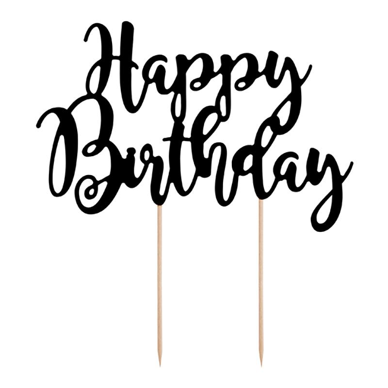 Tårtdekoration Happy Birthday Svart