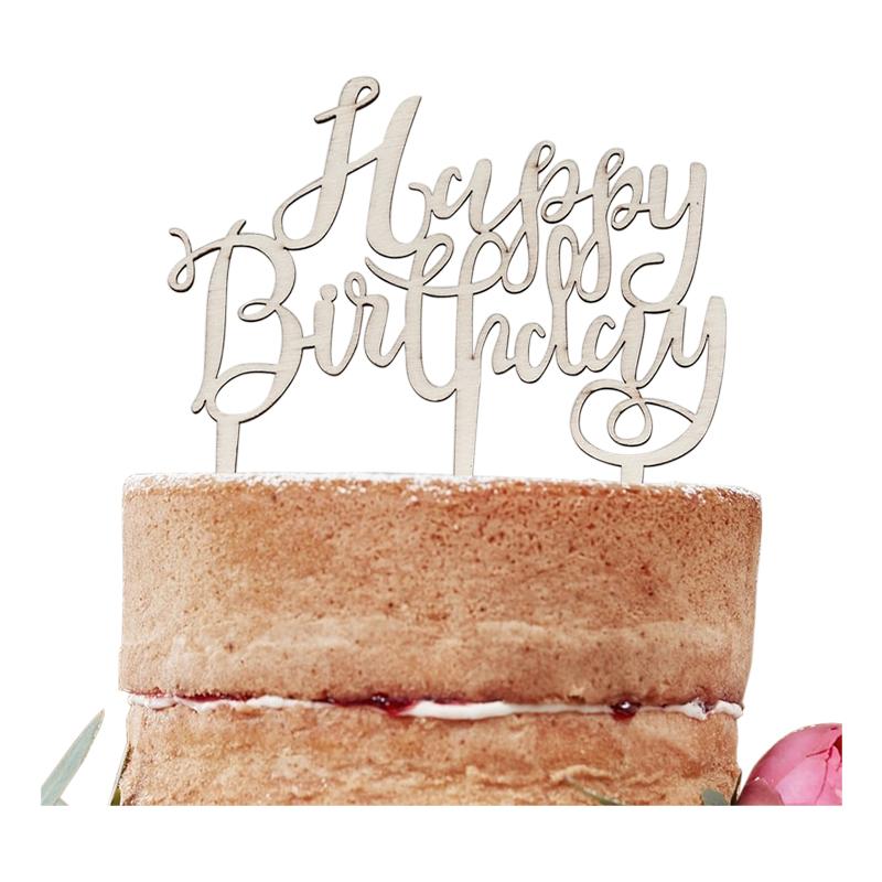 Tårtdekoration i Trä Happy Birthday