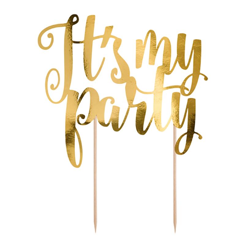 Tårtdekoration It's my Party Guld