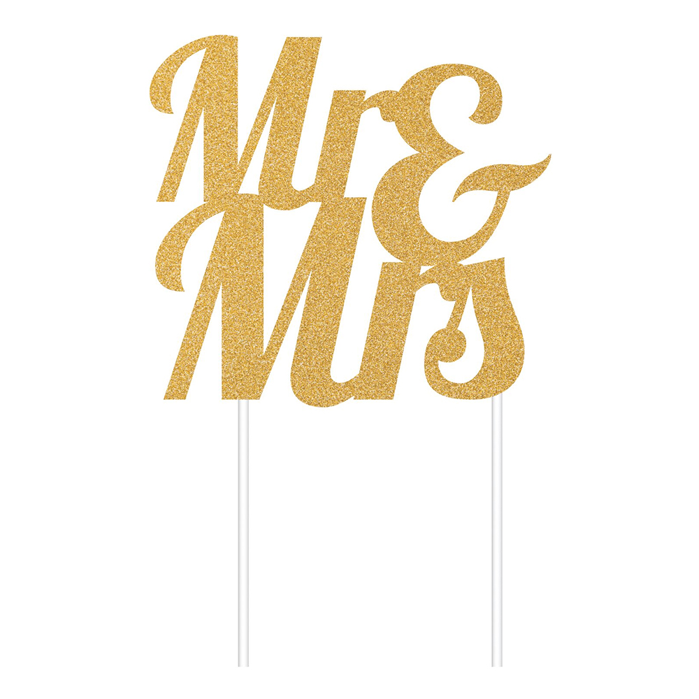 Tårtdekoration Mr & Mrs Guld Glitter - 1-pack