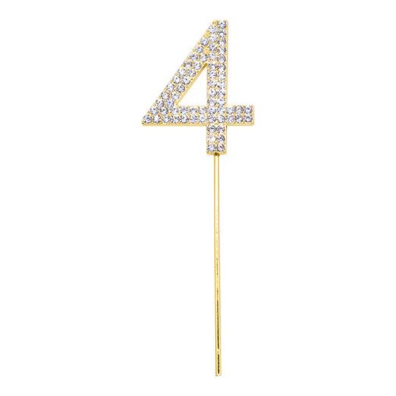 Tårtdekoration Siffra Diamanter Guld - Siffra 4