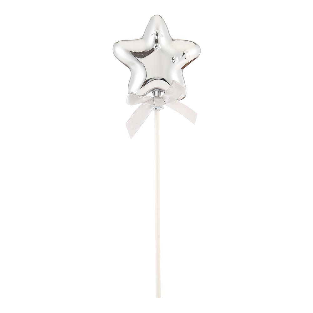 Tårtdekoration Stjärna Silver med Rosett
