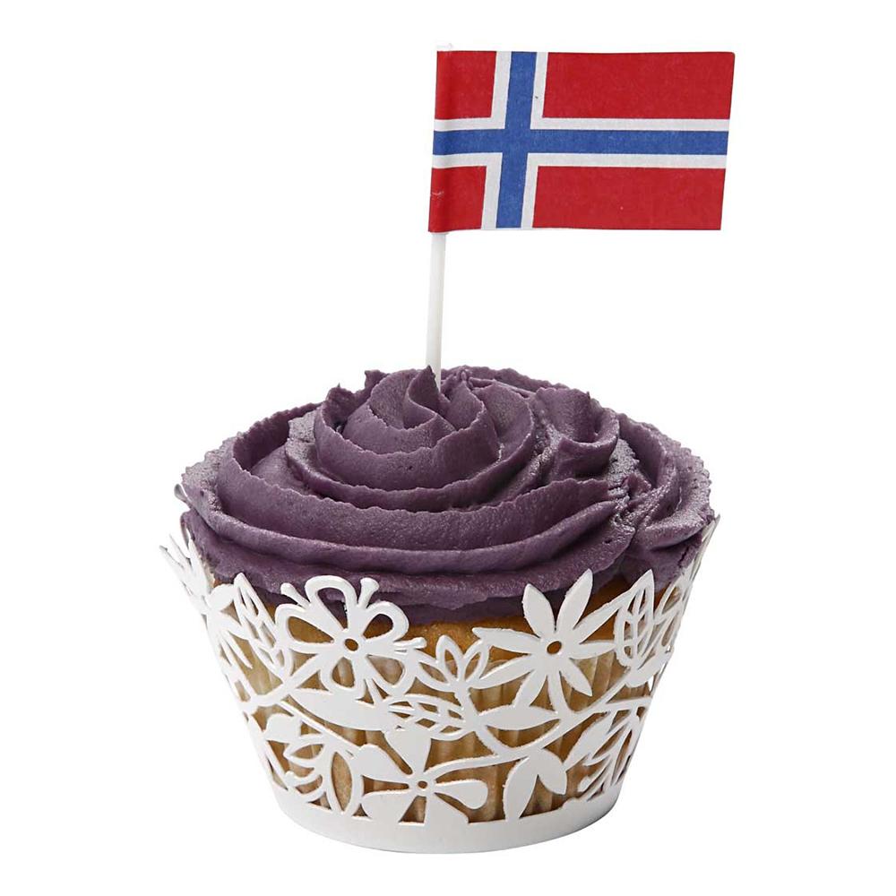 Tårtflaggor Norge - 100-pack