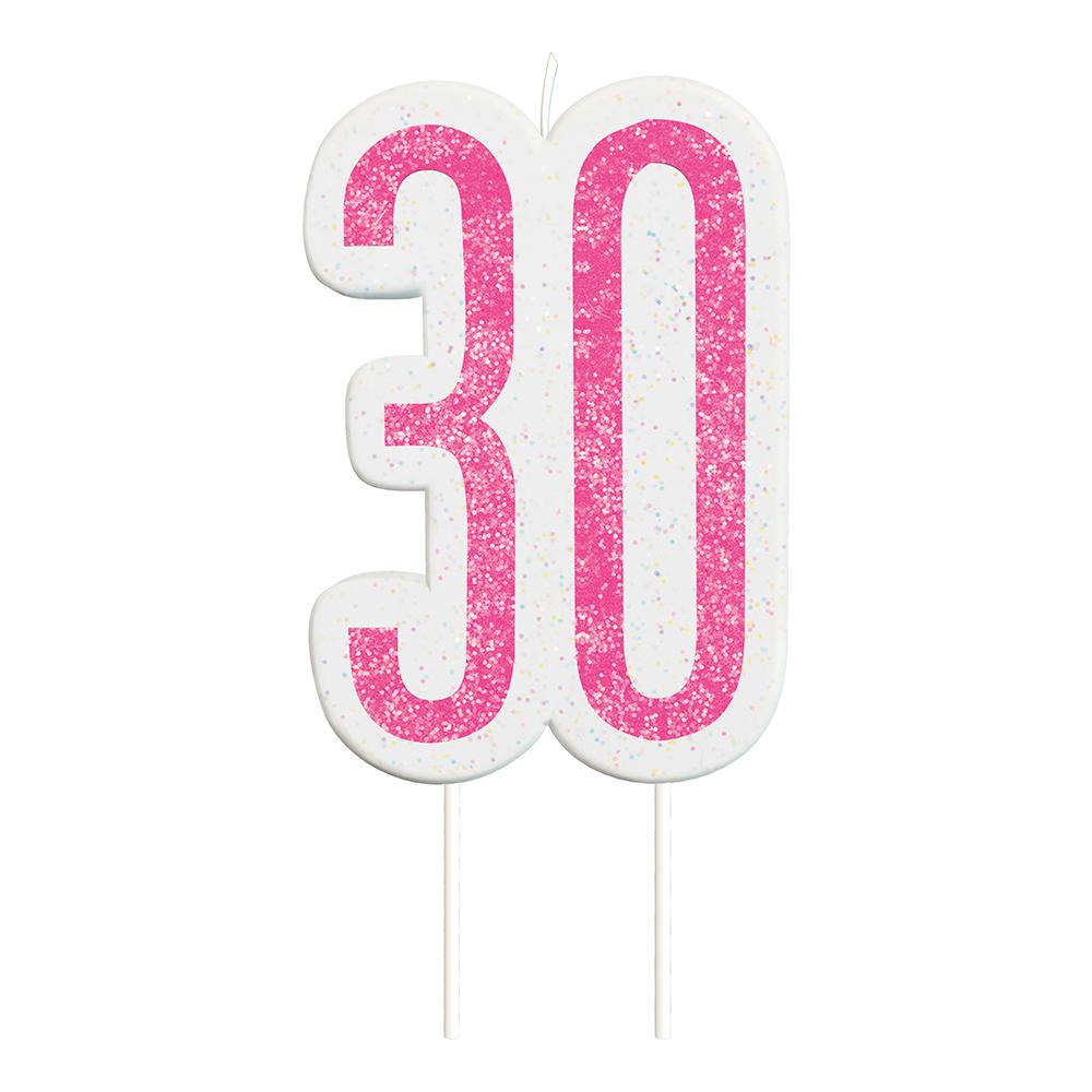 Tårtljus 30 Rosa/Glitter - 1-pack