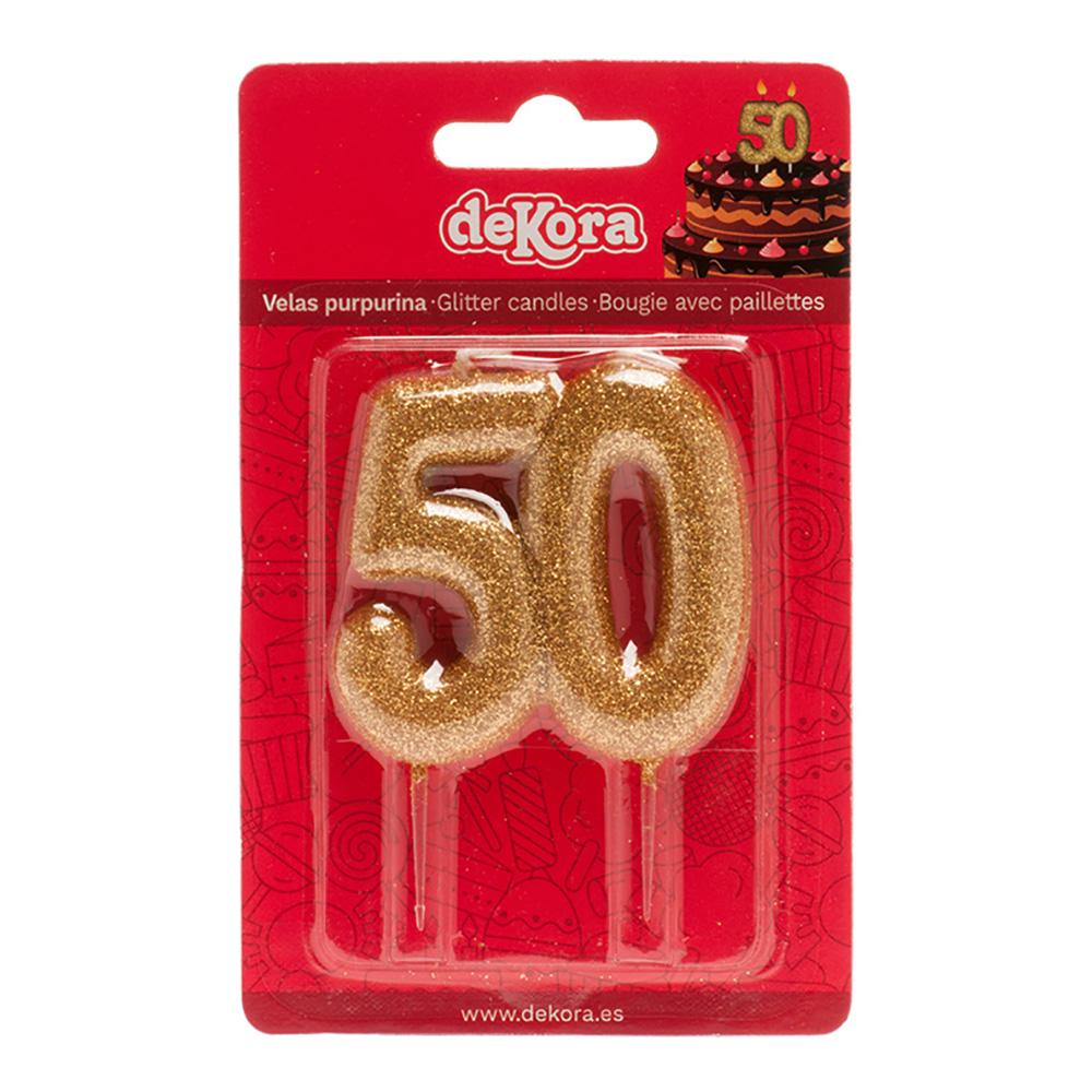 Tårtljus 50 År Glittrig