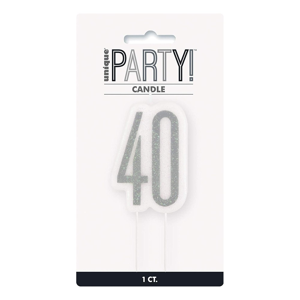 Tårtljus Födelsedag Silver - Siffra 40
