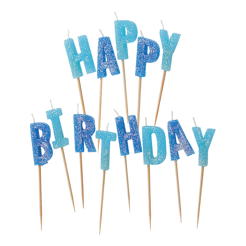 Tårtljus - Tårtljus Happy Birthday Blå