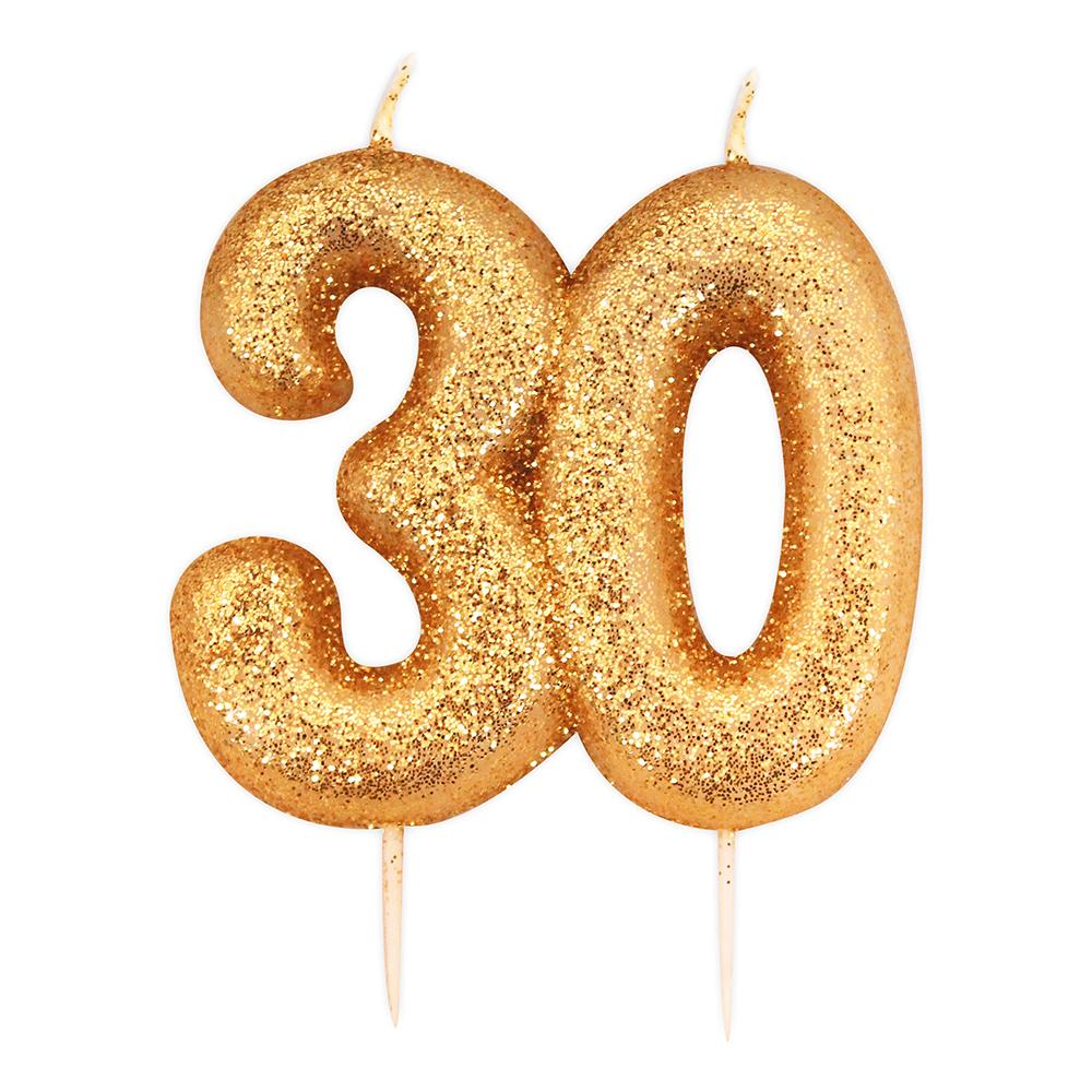 Tårtljus Siffror Guld Glitter - 30 År