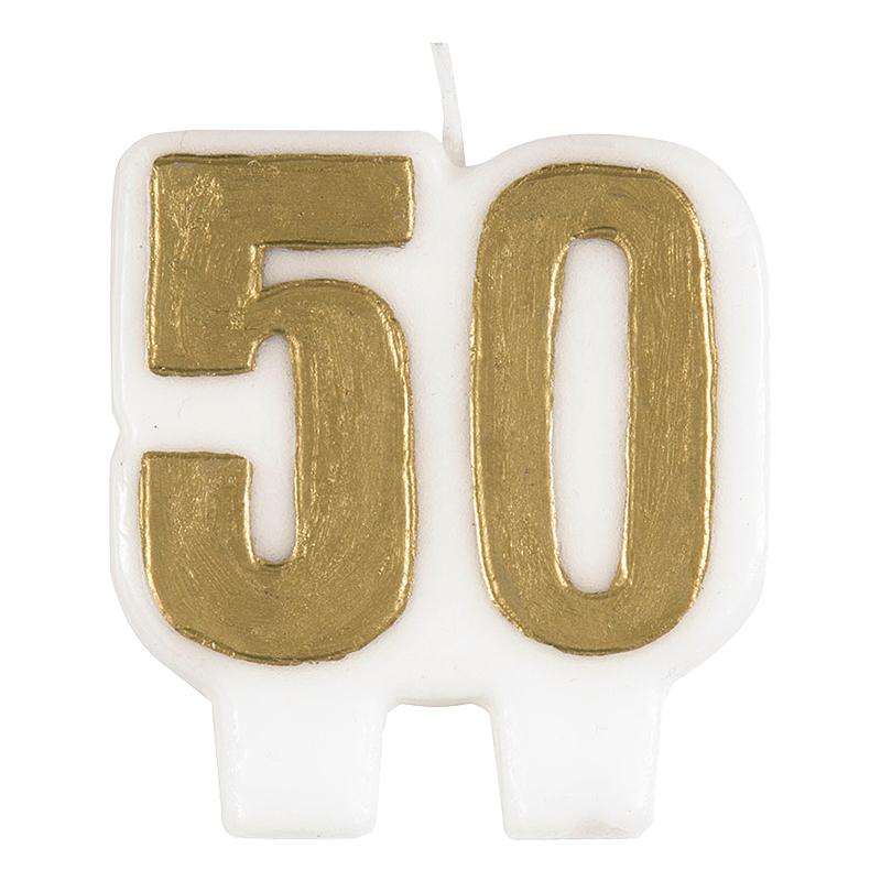 Tårtljus - Tårtljus Siffra 50 Guld