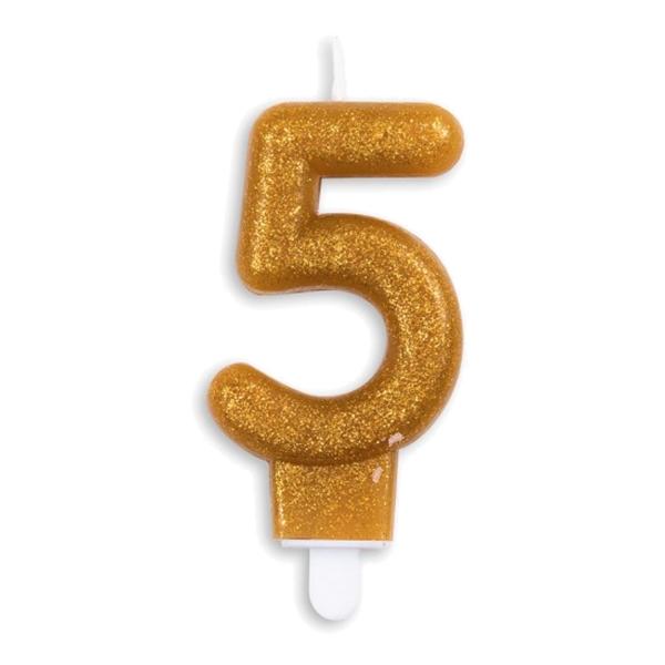 Tårtljus Siffra Glitter Guld - Siffra 5