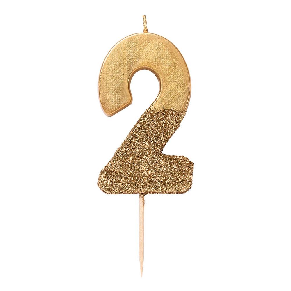 Tårtljus Siffra Guld/Guldglitter - Siffra 2
