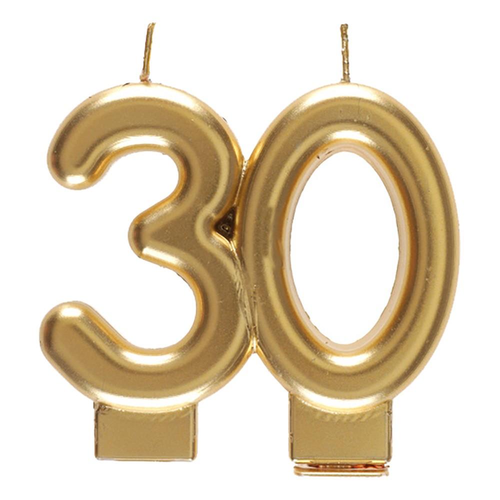 Tårtljus Siffra Matt Guld - Siffra 30