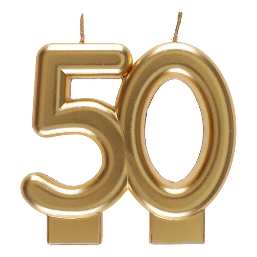 Tårtljus Siffra Matt Guld - Siffra 50
