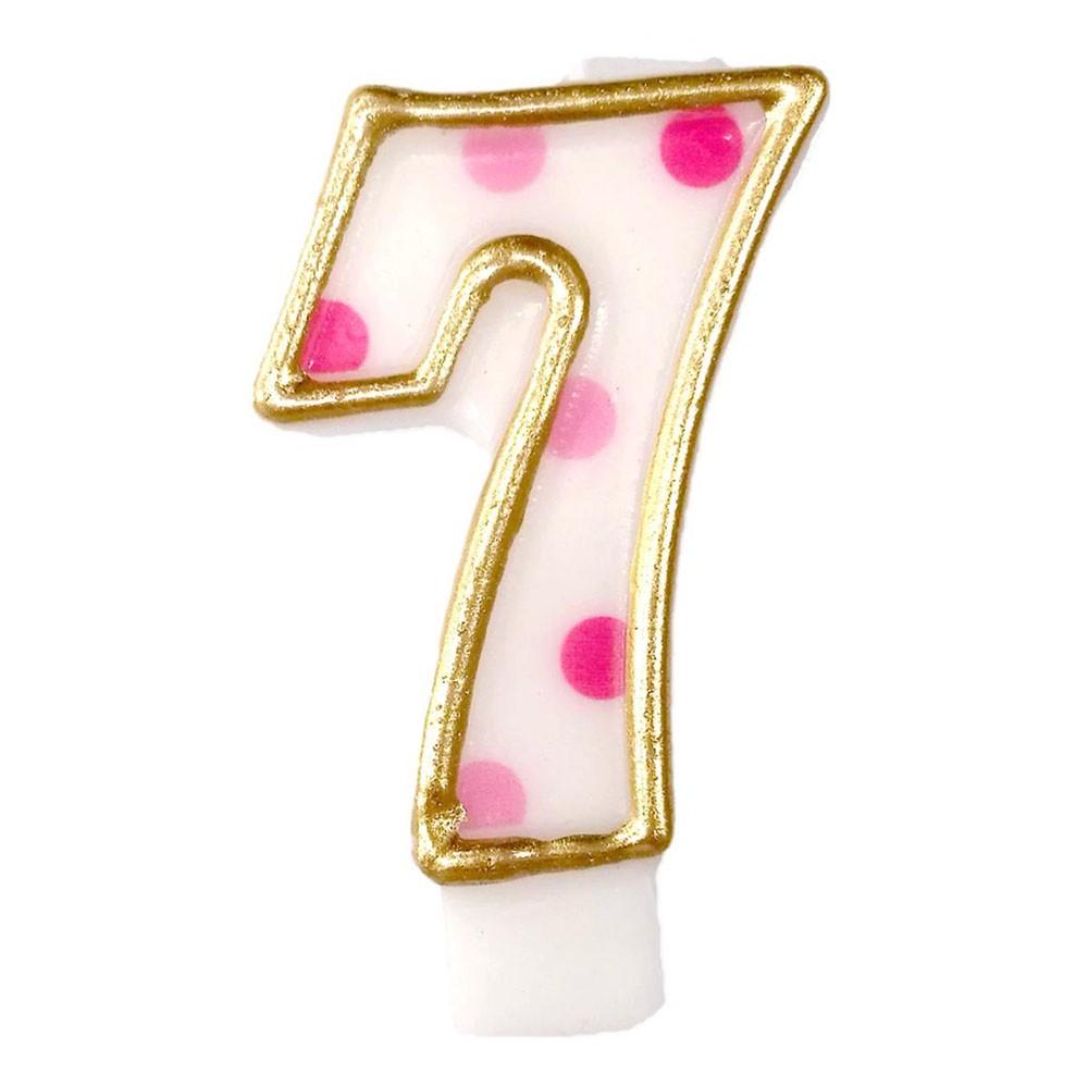 Tårtljus Siffror Rosa/Guld - Siffra 7