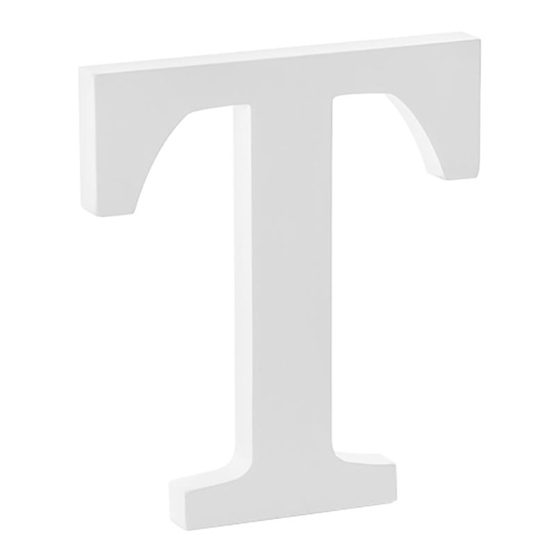 Träbokstäver Vita - Bokstav T