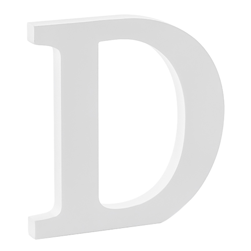 Träbokstav Vit - Bokstav D