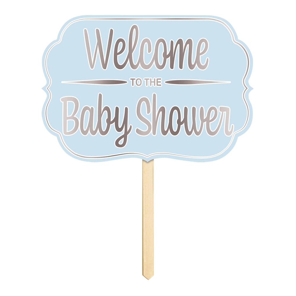 Trädgårdsskylt Welcome To The Babyshower Blå - 1-pack   Hem//Roliga Prylar//Hem & Hushåll//Skyltar & Dekaler   Partyoutlet