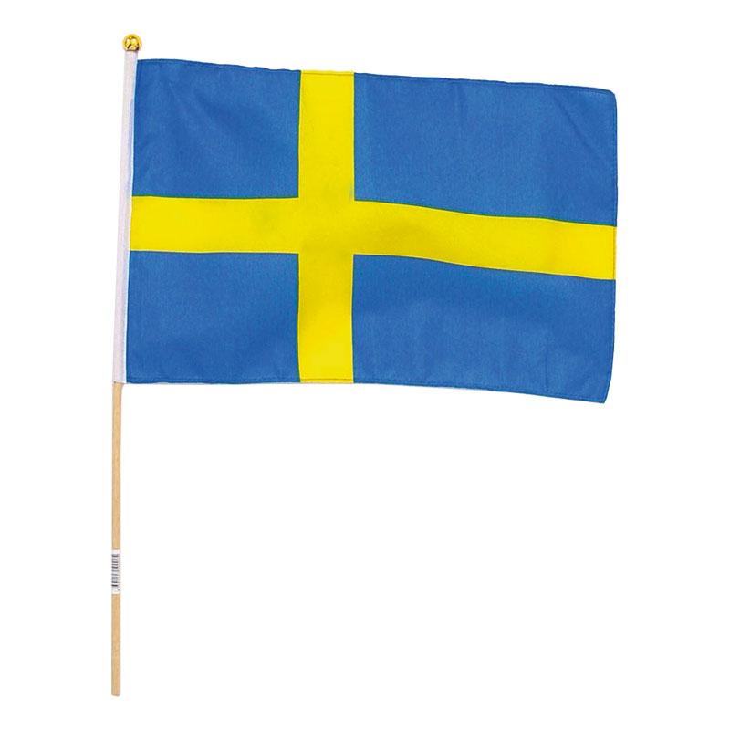 Tygflagga Sverige på Pinne