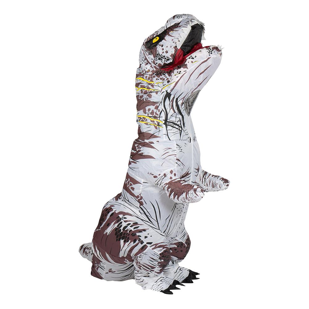 Uppblåsbar T-Rex Vit Maskeraddräkt - One size