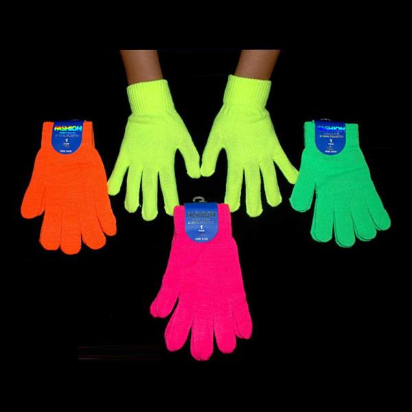 UV Neon Fingerhandskar - Rosa