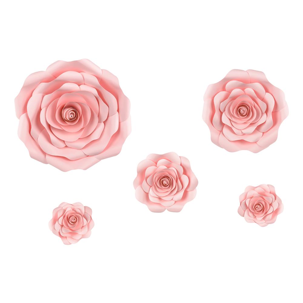 Väggdekoration Rosa Rosor - 5-pack