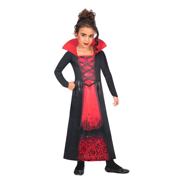 Vampyrklänning Rosor Barn Maskeraddräkt - Medium 6-8