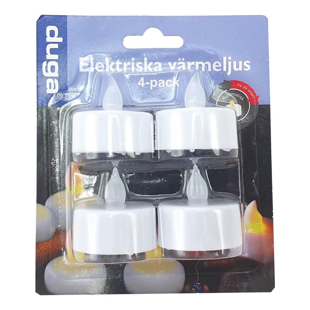 Värmeljus med Elektrisk Timer - 4-pack