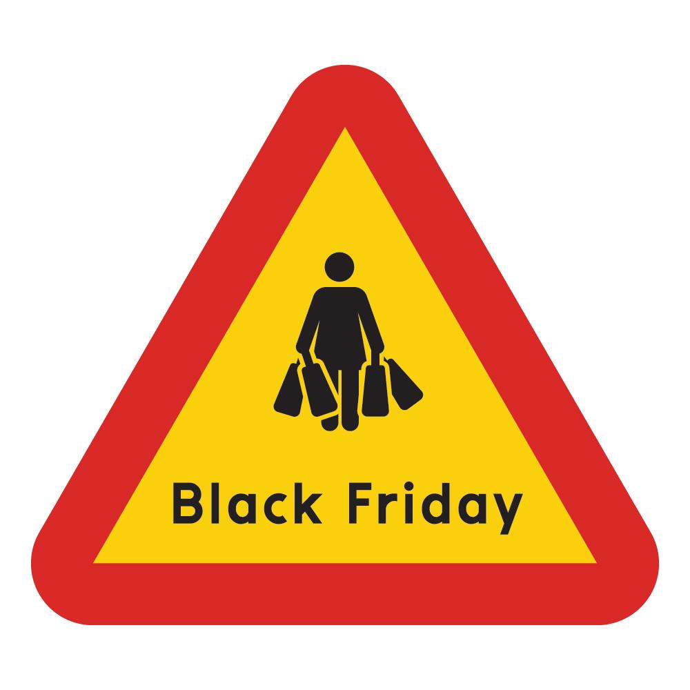 Varningsskylt Black Friday