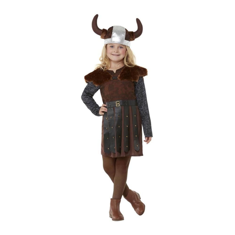 Vikingaflicka Brun Barn Maskeraddräkt - Small