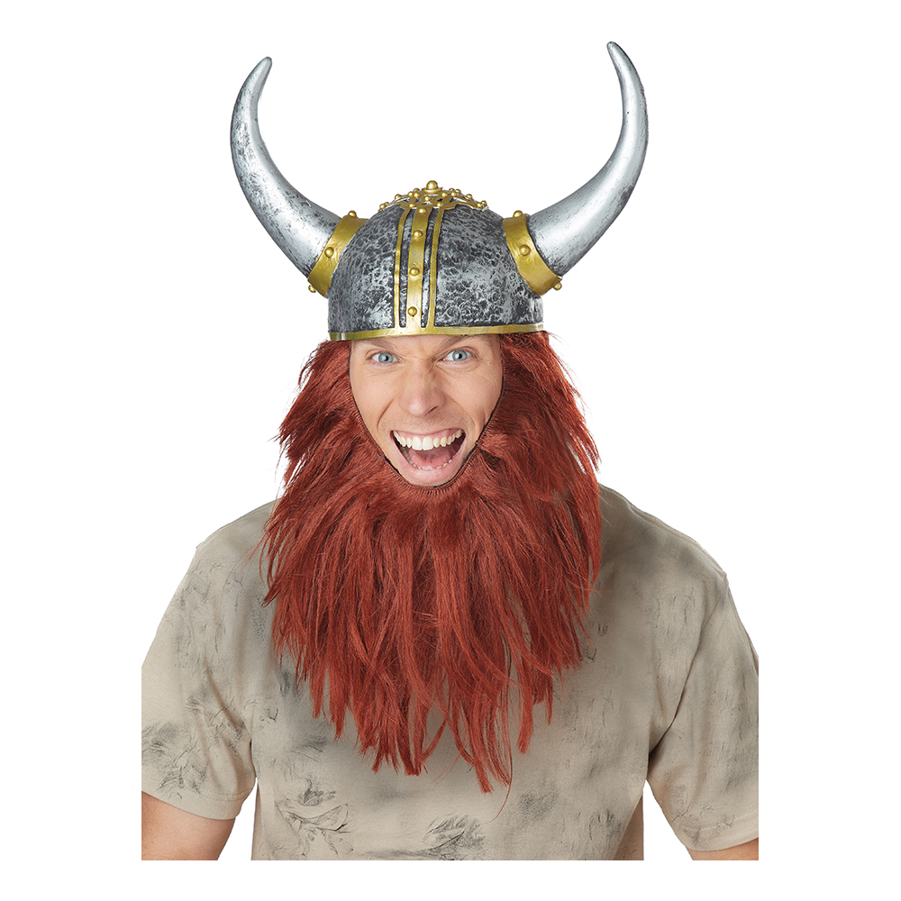 Vikingahjälm och Skägg Rött - One size