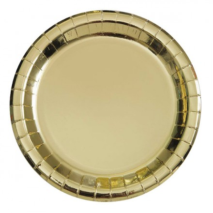 Omtalade Papperstallrikar Guld Metallic - Partykungen.se XL-35